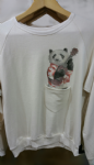 Ladies sweater 'Panda playing guitar' with pocket - free size
